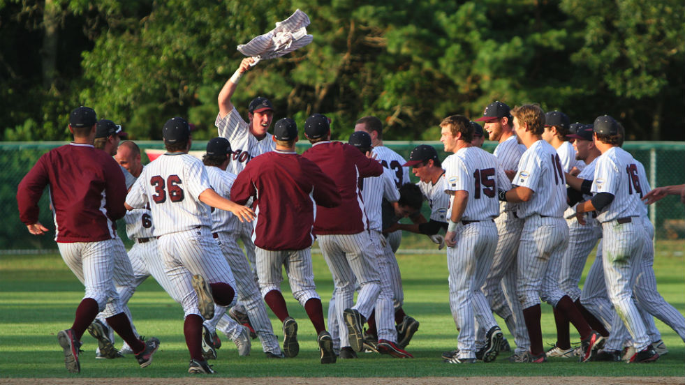 Cotuit celebrates its victory in game two. The Kettleers celebrated again last night.
