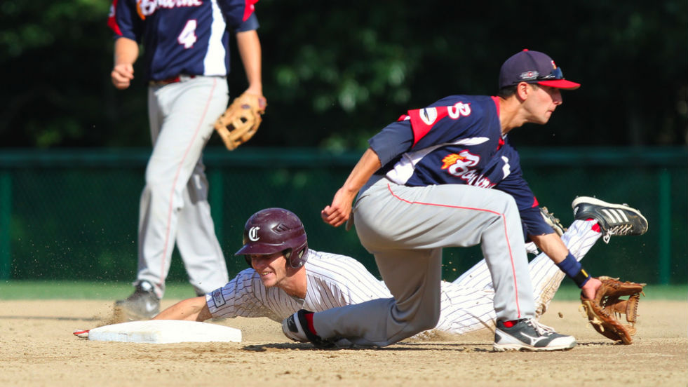 Jake Fincher slides into second in Saturday's game.