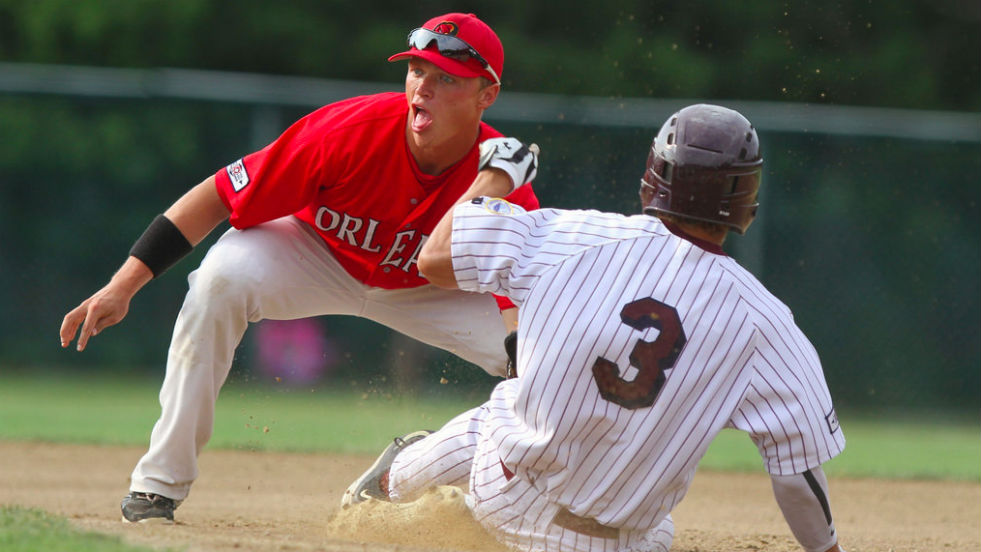 Alex Call waits for a throw at second base against Cotuit earlier this week. The Firebirds clinched the East title Thursday.