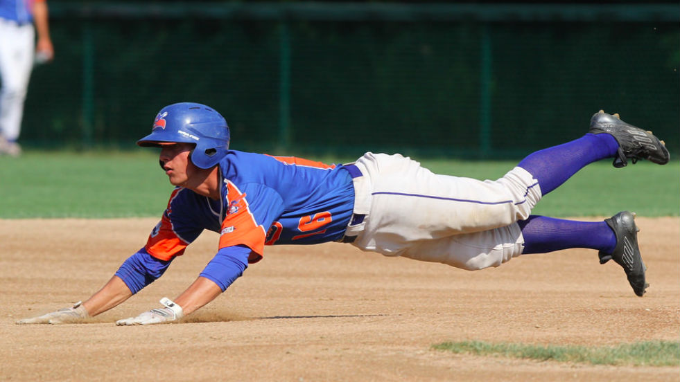 Corey Bird, pictured earlier in the playoffs, knocked in the go-ahead runs as Hyannis punched its ticket to the championship.