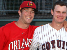 Jimmy Herron and Griffin Conine after an Orleans-Cotuit game earlier this summer.